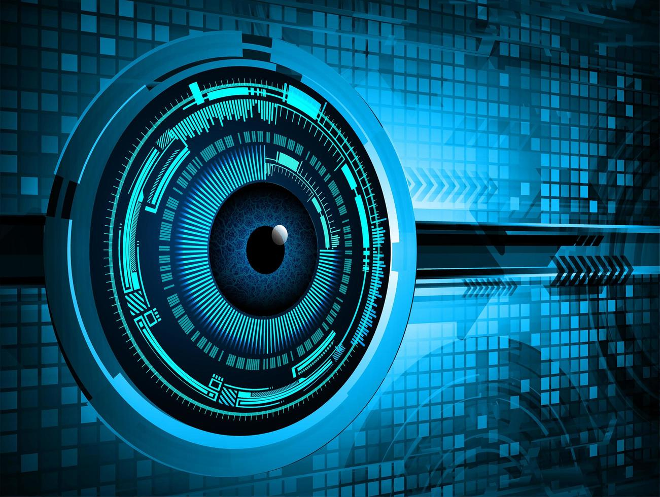 blå ögon cyber krets framtida teknologikoncept vektor