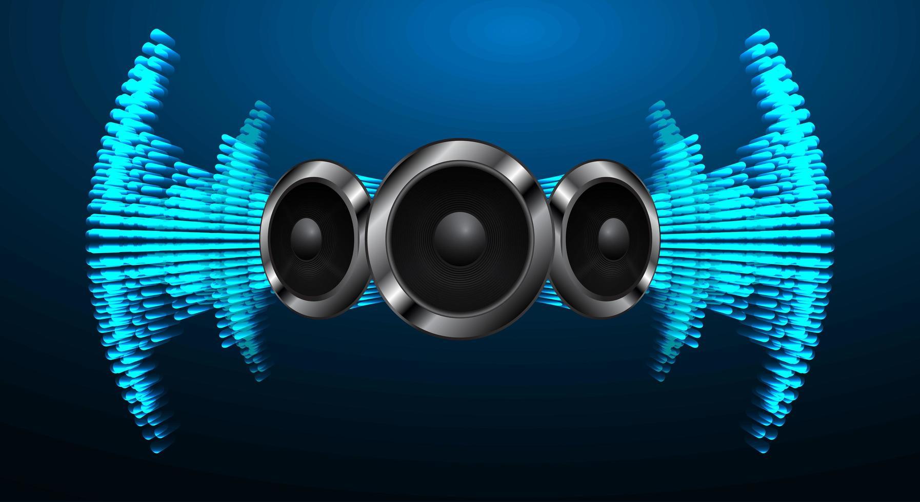 Schallwellen oszillieren blaues Licht vektor