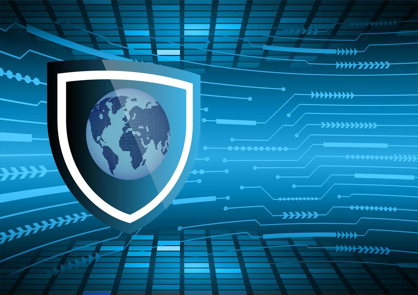 blauer Weltkartenlicht abstrakter Technologiehintergrund vektor