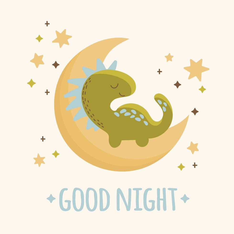 handgezeichneter Dinosaurier, der auf dem Mond schläft vektor