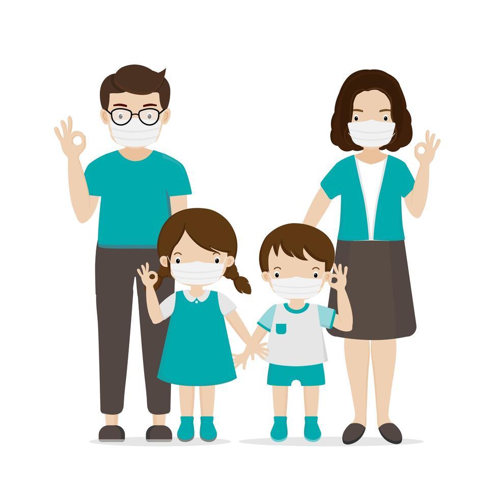 Familie mit Gesichtsmasken vektor