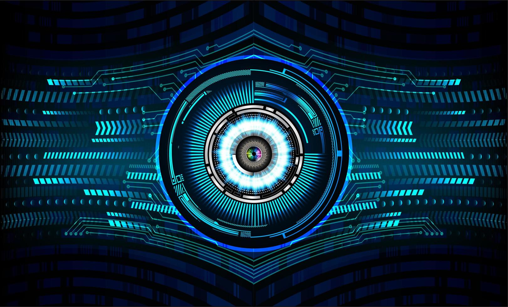 Blue Eye Cyber Circuit Zukunftstechnologiekonzept vektor