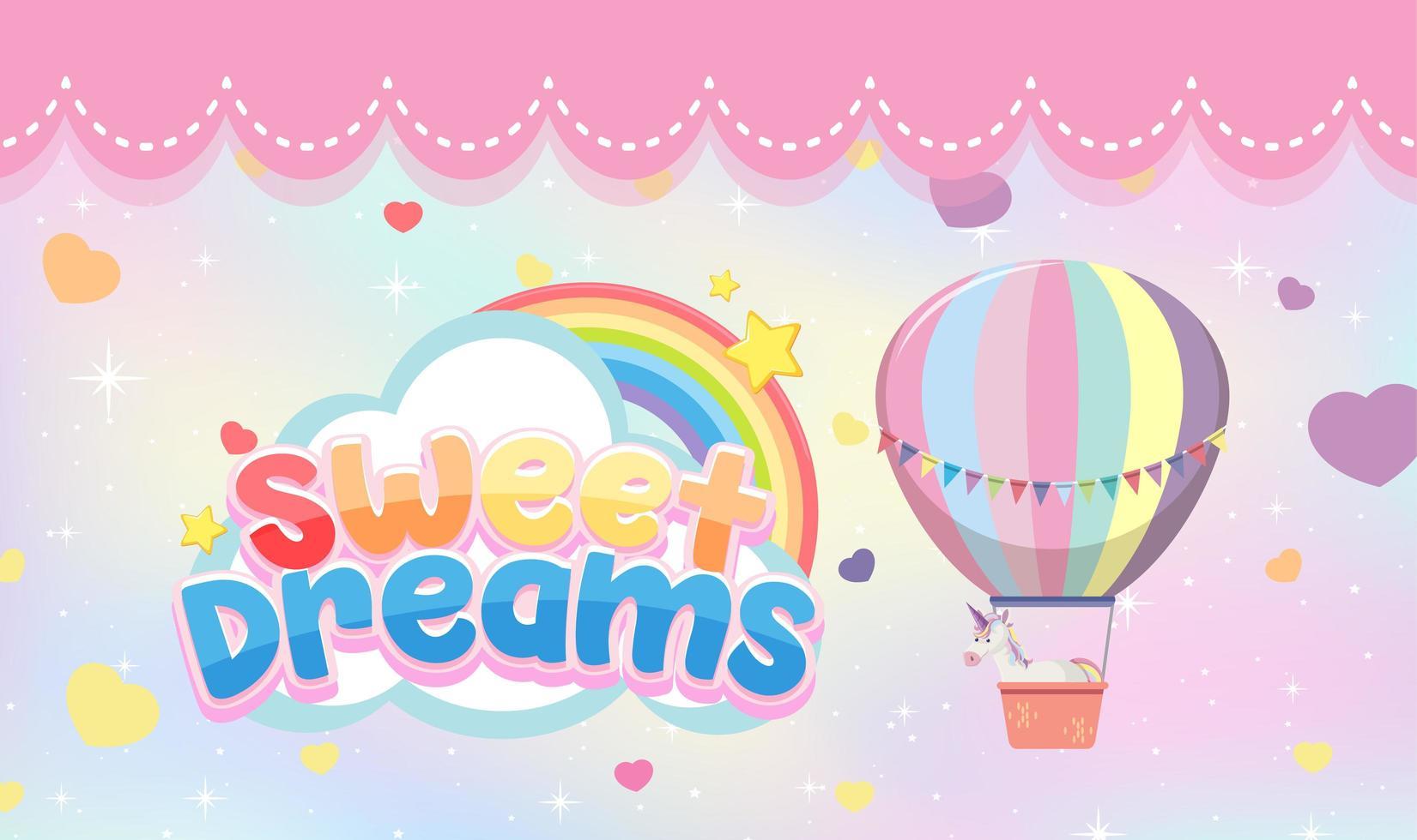 söta drömmar bokstäver med pastellfärgad ballong och enhörning vektor