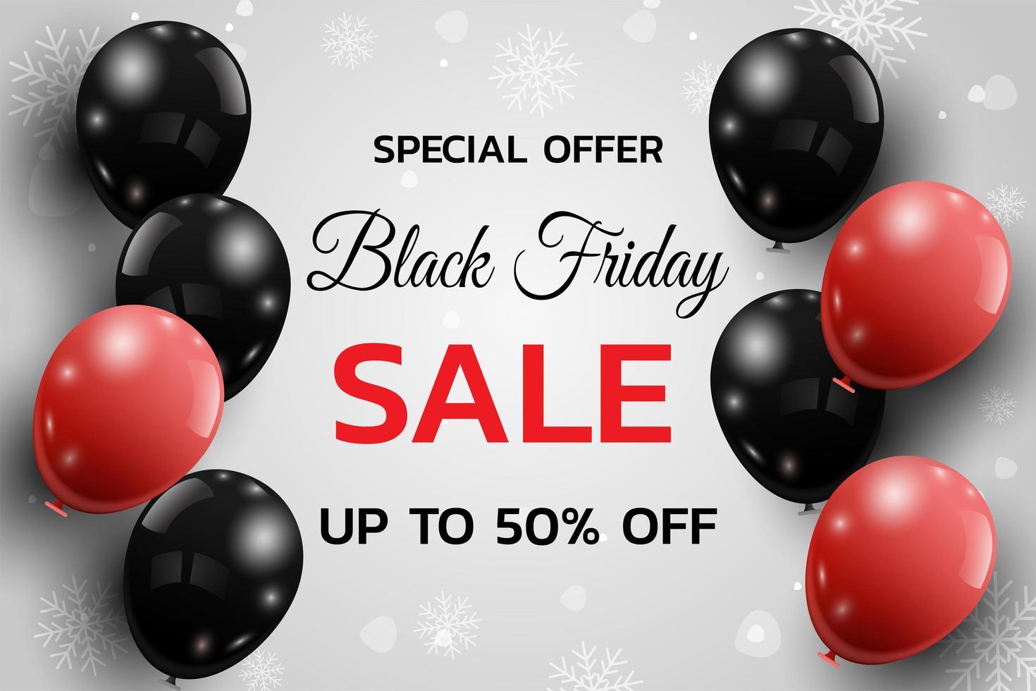 svart fredag försäljning affisch med ballonger vektor
