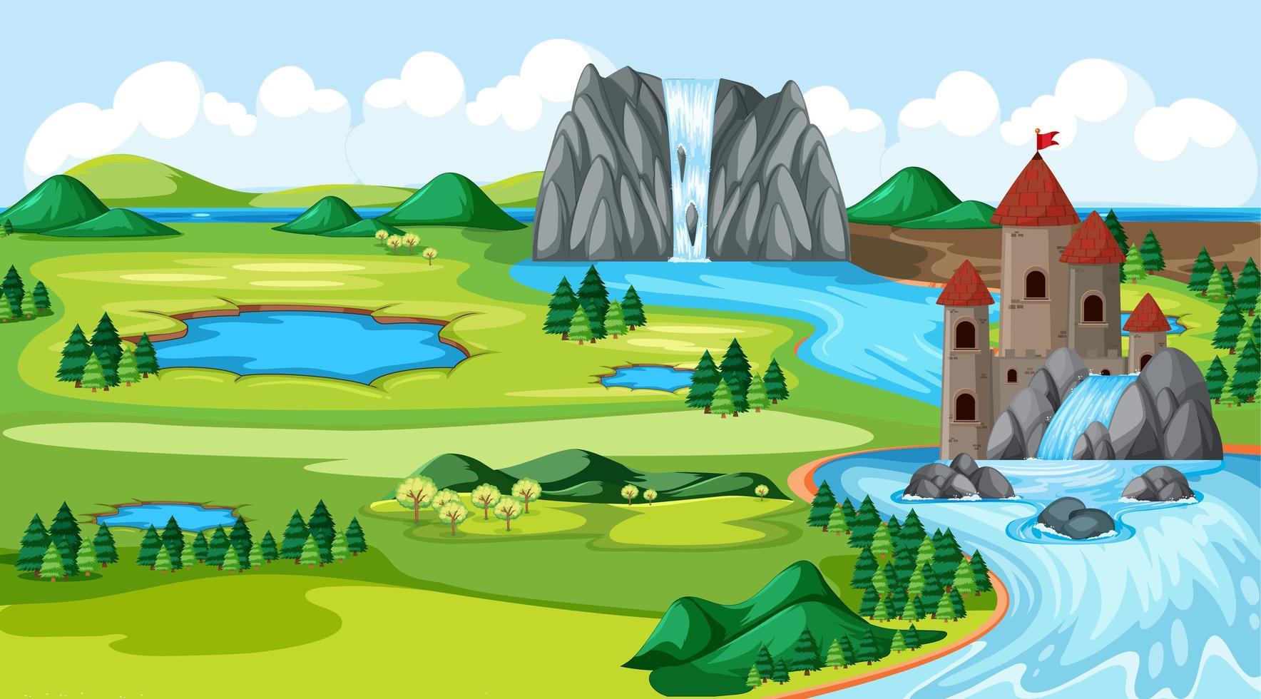slott och naturpark med vattenfall vektor