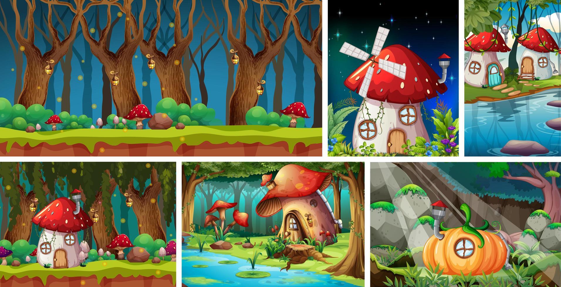 sechs verschiedene Szenen der Fantasiewelt vektor