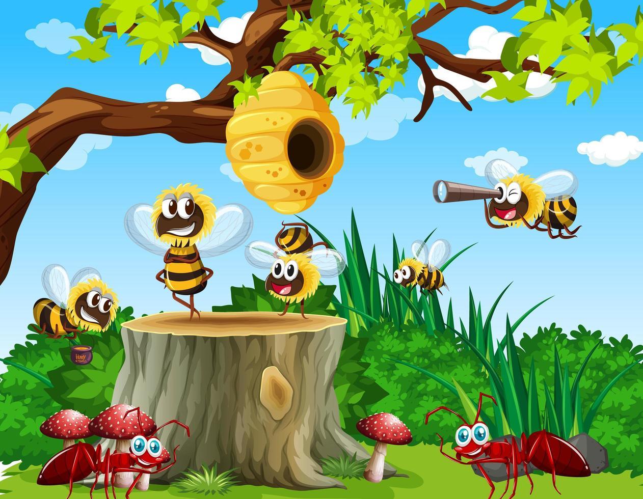 Viele Bienen und Ameisen leben in der Gartenszene mit Waben vektor