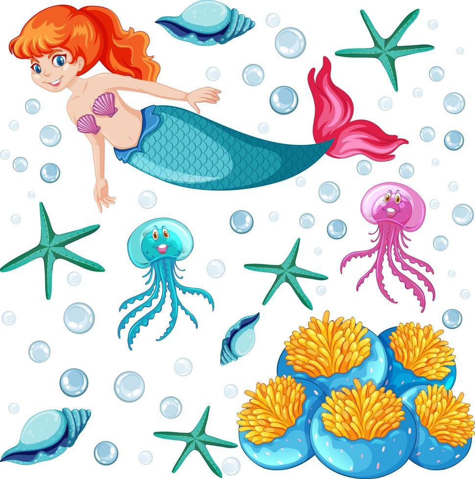 uppsättning sjöjungfru och havsdjur vektor