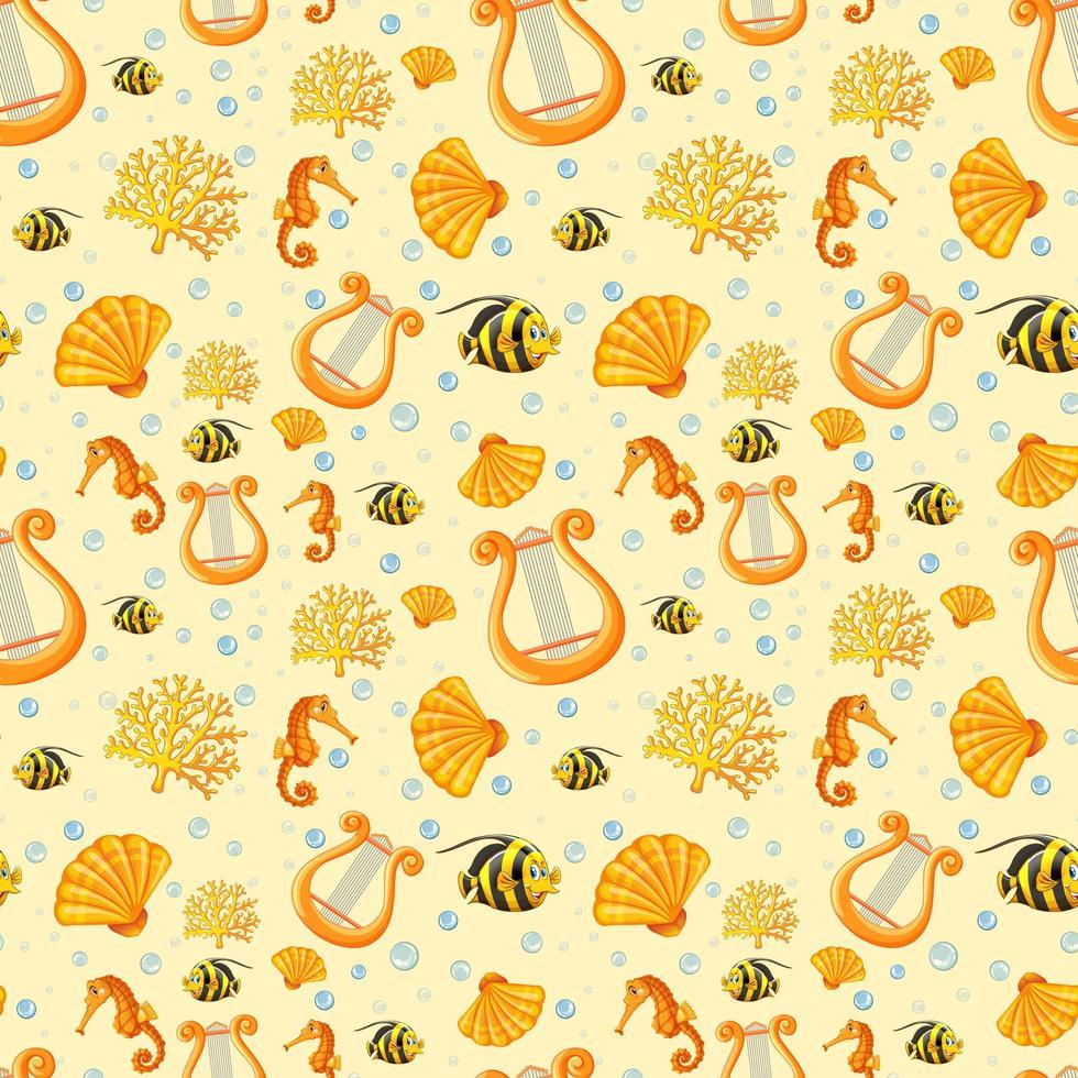 älva havsdjur tecknad på gul bakgrund vektor