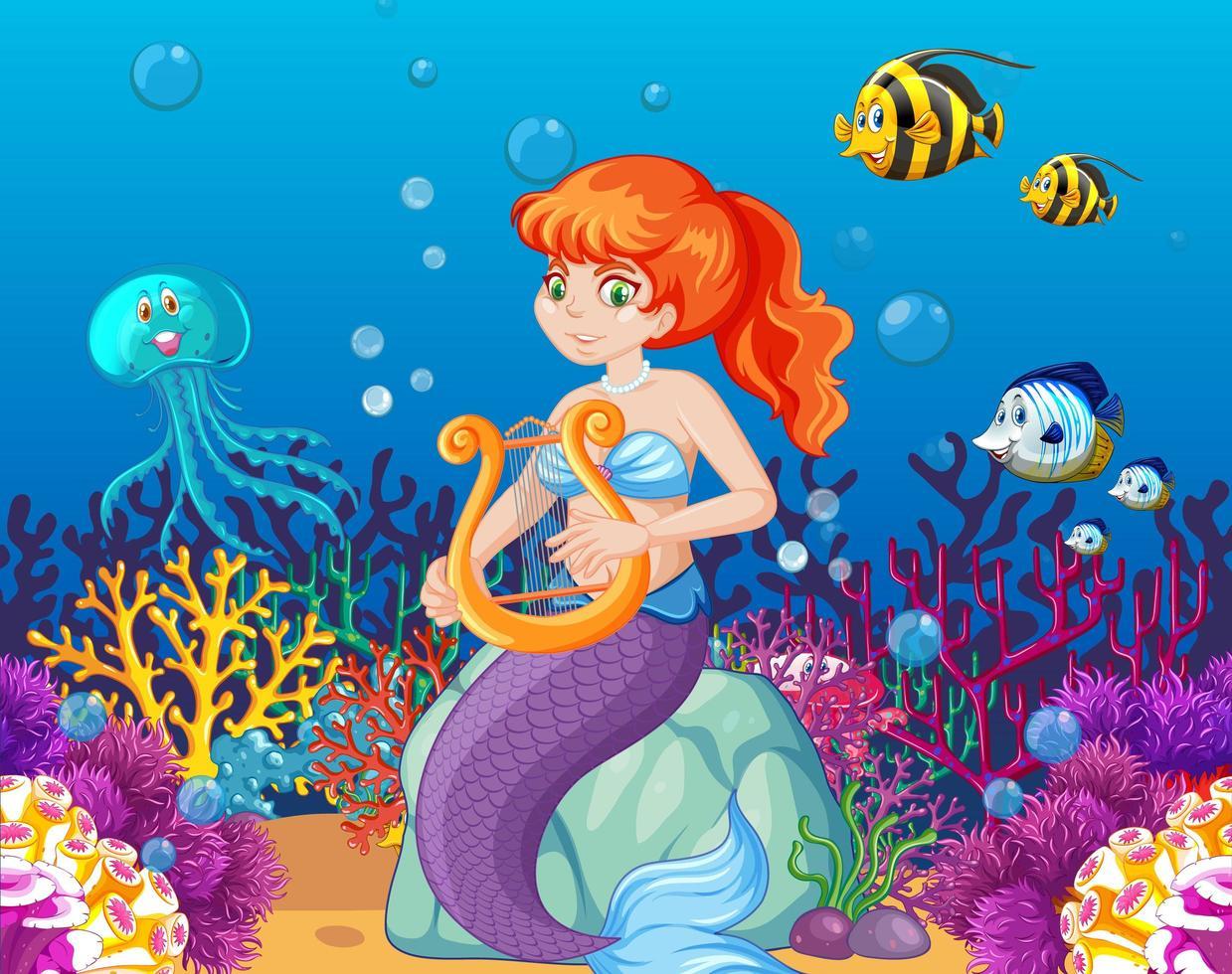 Satz von Meerestieren und Meerjungfrau vektor