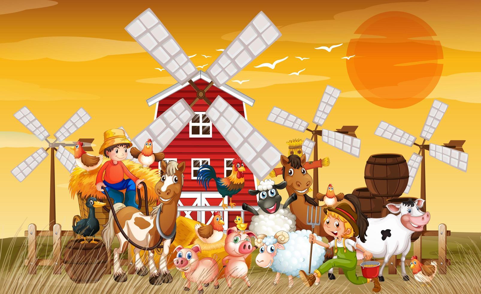 Bauernhof in der Naturszene mit Windmühle vektor