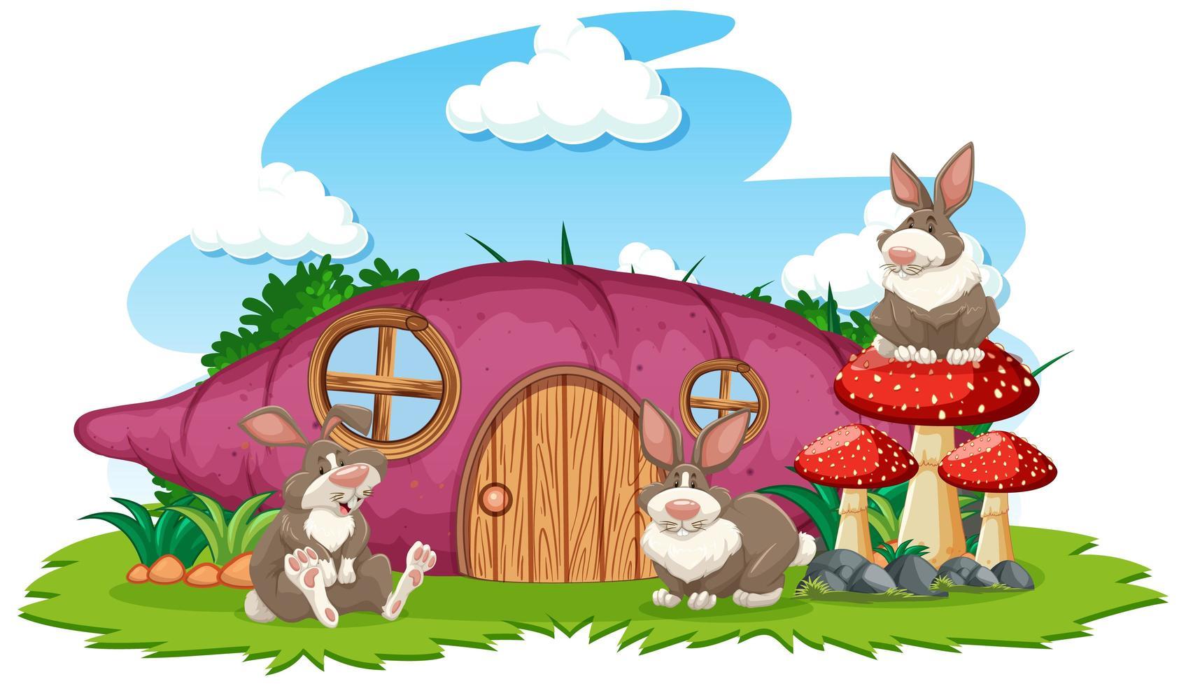 Taro Haus mit drei Kaninchen vektor