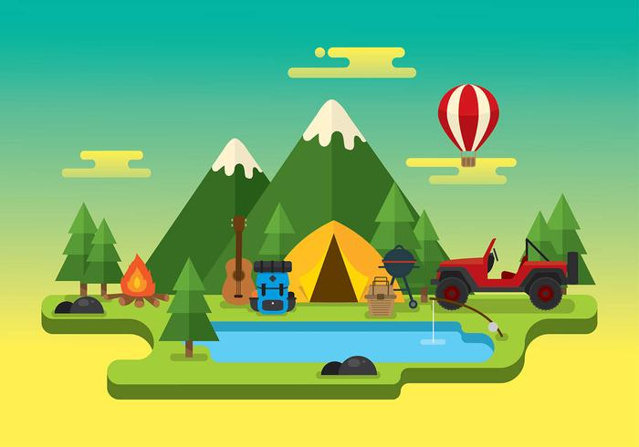 Jeep Camping Trip Gratis Vector