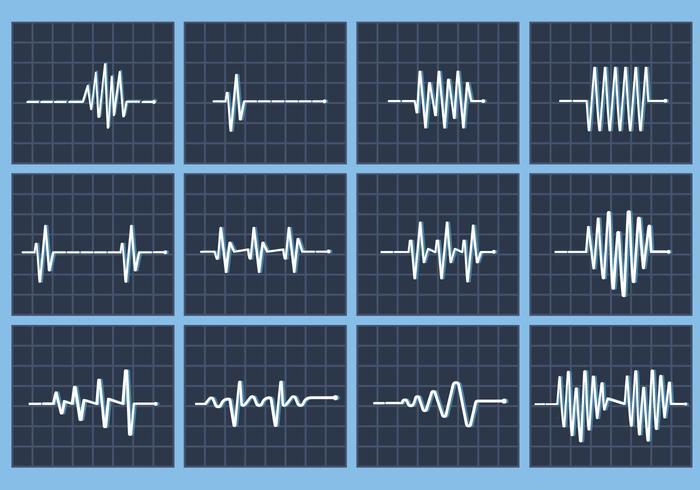 Hjärtfrekvens beat vektor flatline