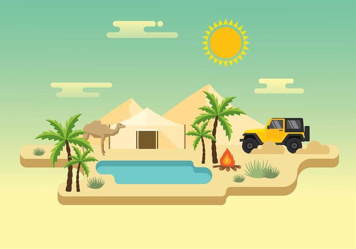 Jeep Desert Trip Gratis Vector