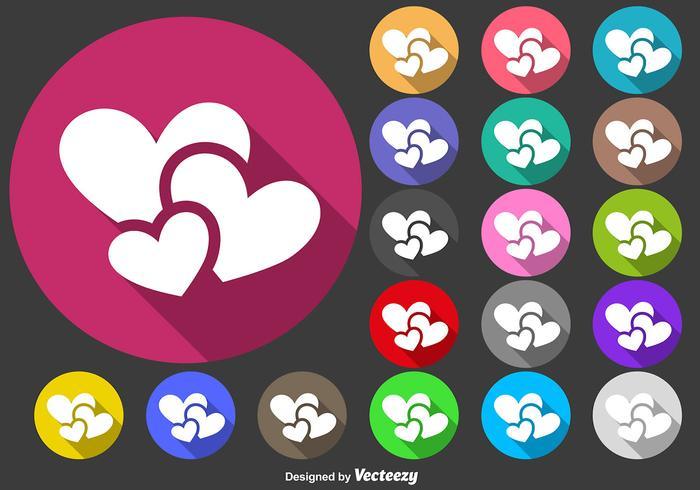 Hjärtan Ikon Vector Färgglada knappar