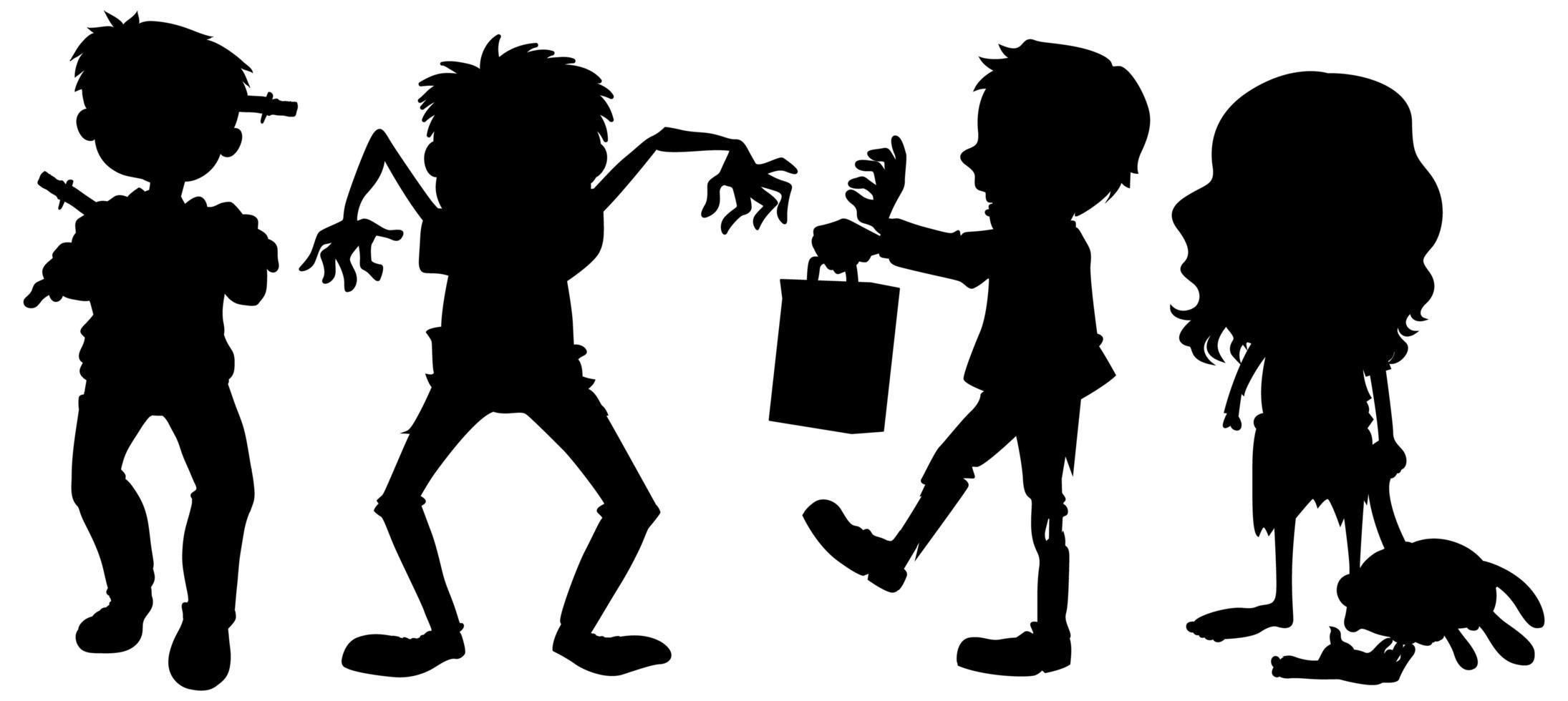 Zombies in der Silhouette auf weißem Hintergrund vektor
