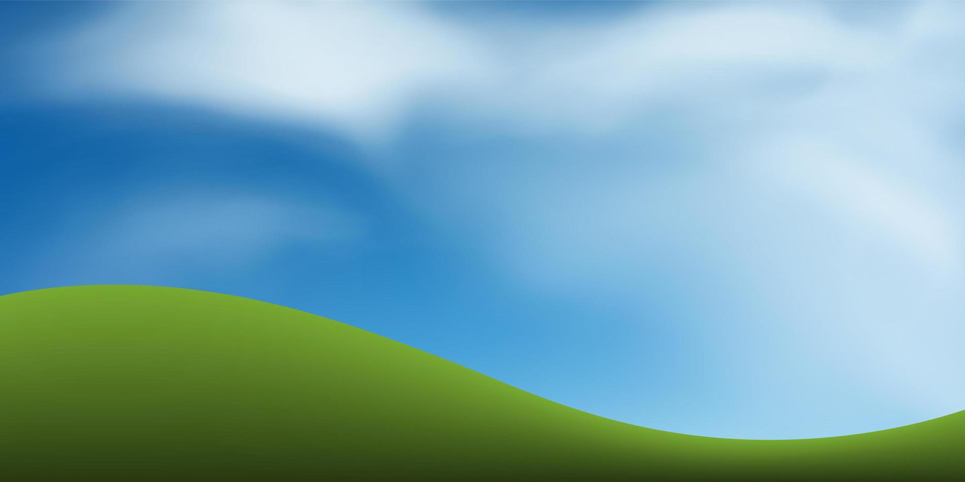 grönt gräs kulle eller berg med blå himmel vektor