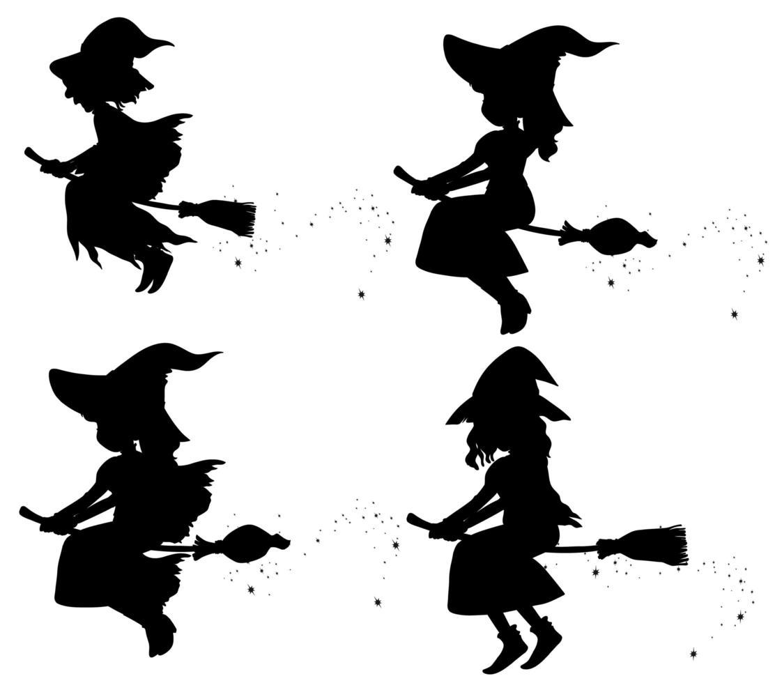 Cartoon-Hexen in der Silhouette vektor
