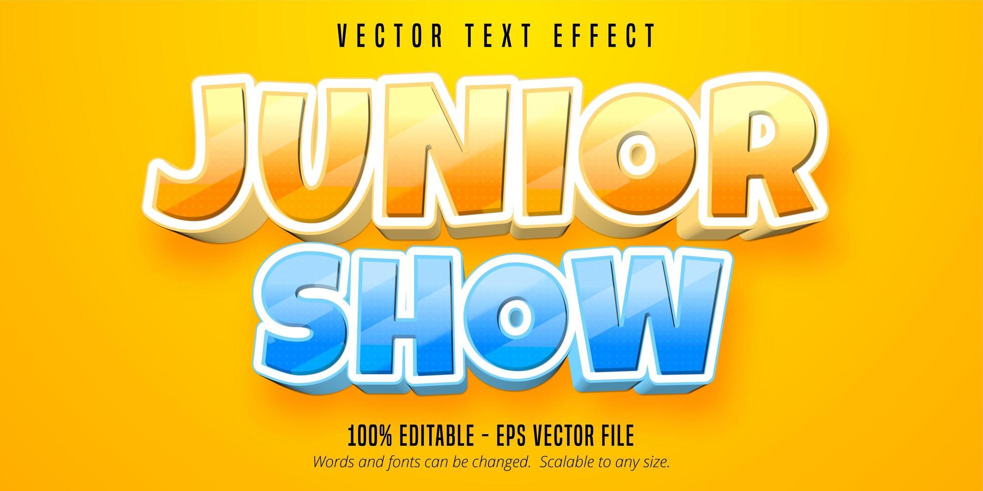 junior show tecknad stil redigerbar texteffekt vektor