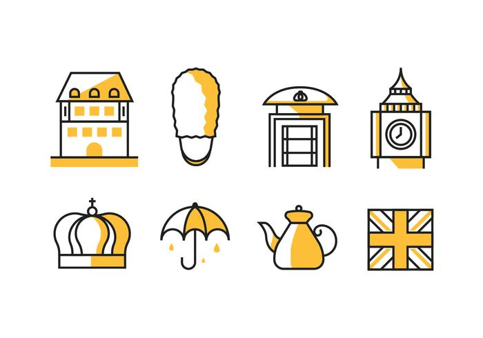 Konungariket Storbritannien / England Ikoner vektor