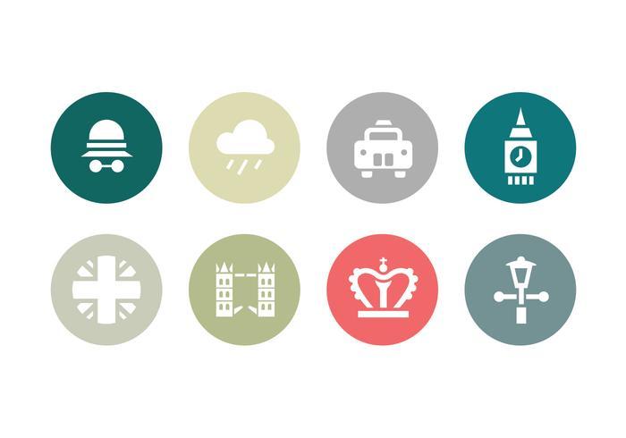 Insamling av London platt ikoner vektor