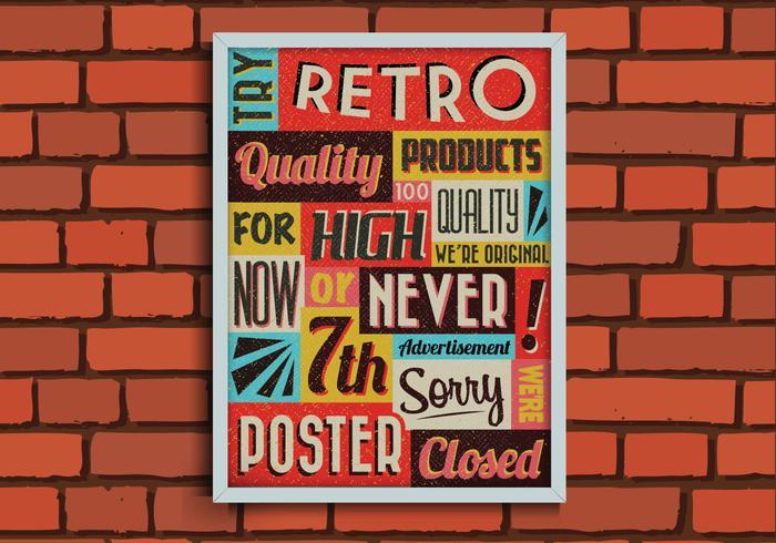 Retro affisch på en tegelvägg vektor