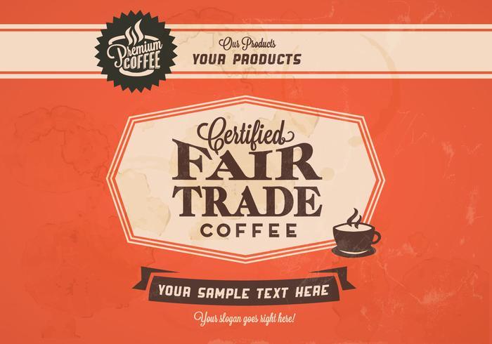 Rättvis handel kaffe klassisk vektor