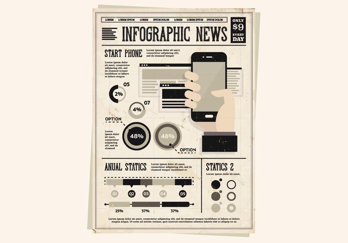 Zeitung Handgerät Vektor