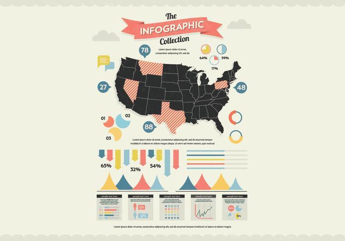 US-Karte Infografik-Vektor vektor