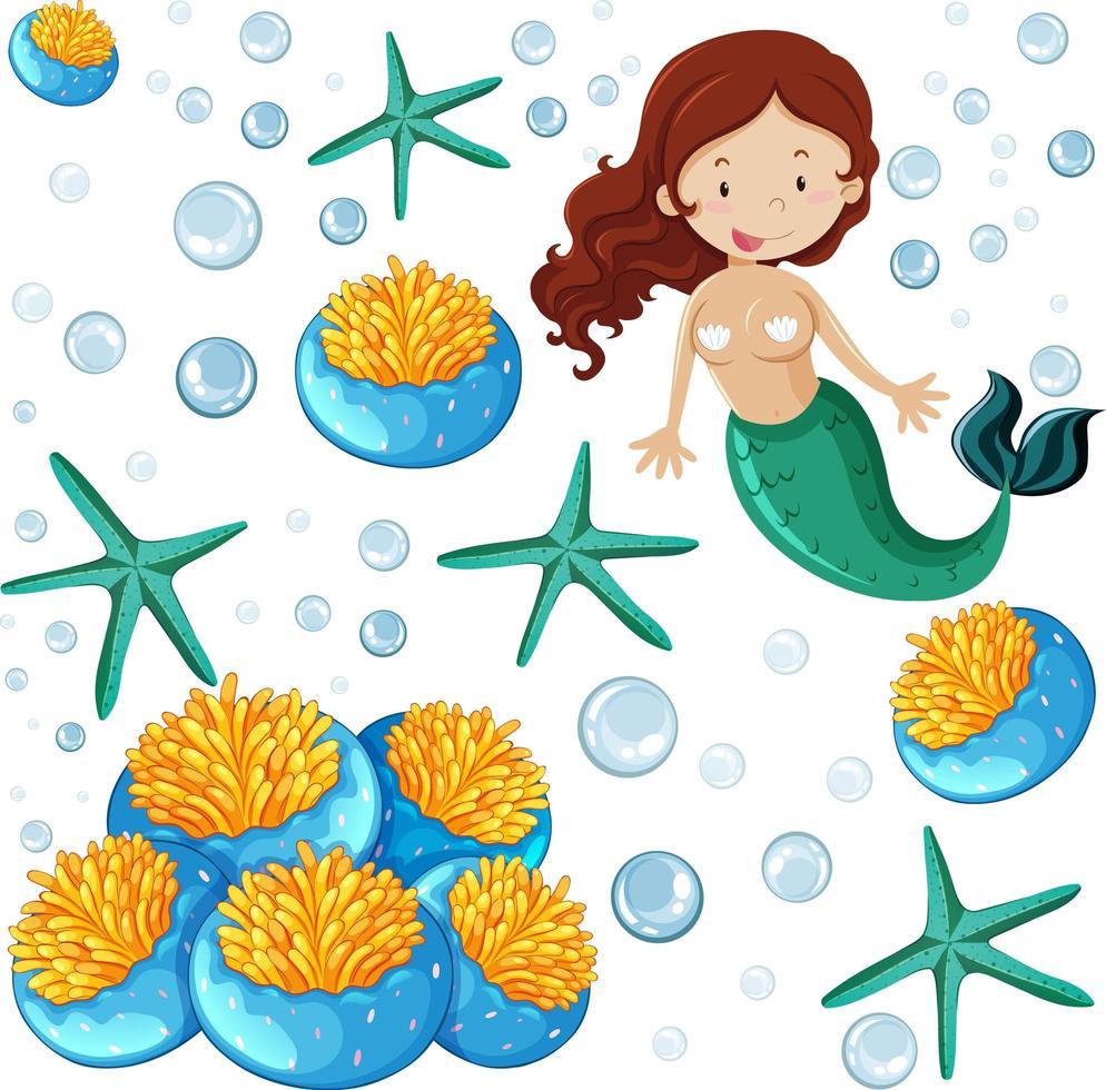 uppsättning havsdjur och sjöjungfru tecknad stil vektor