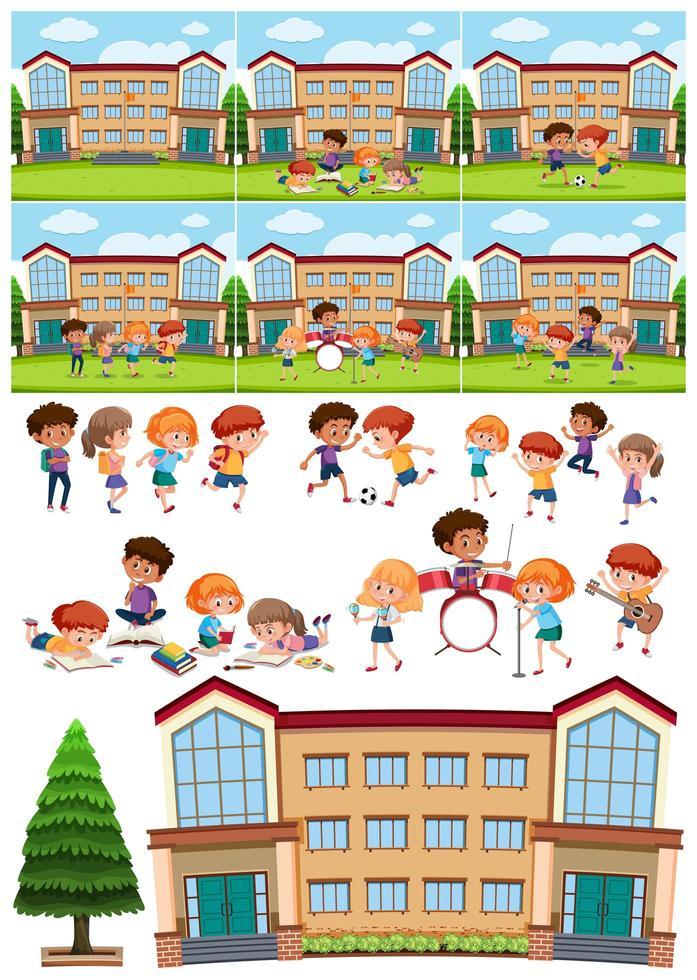 viele Kinder lernen und spielen in der Schule vektor