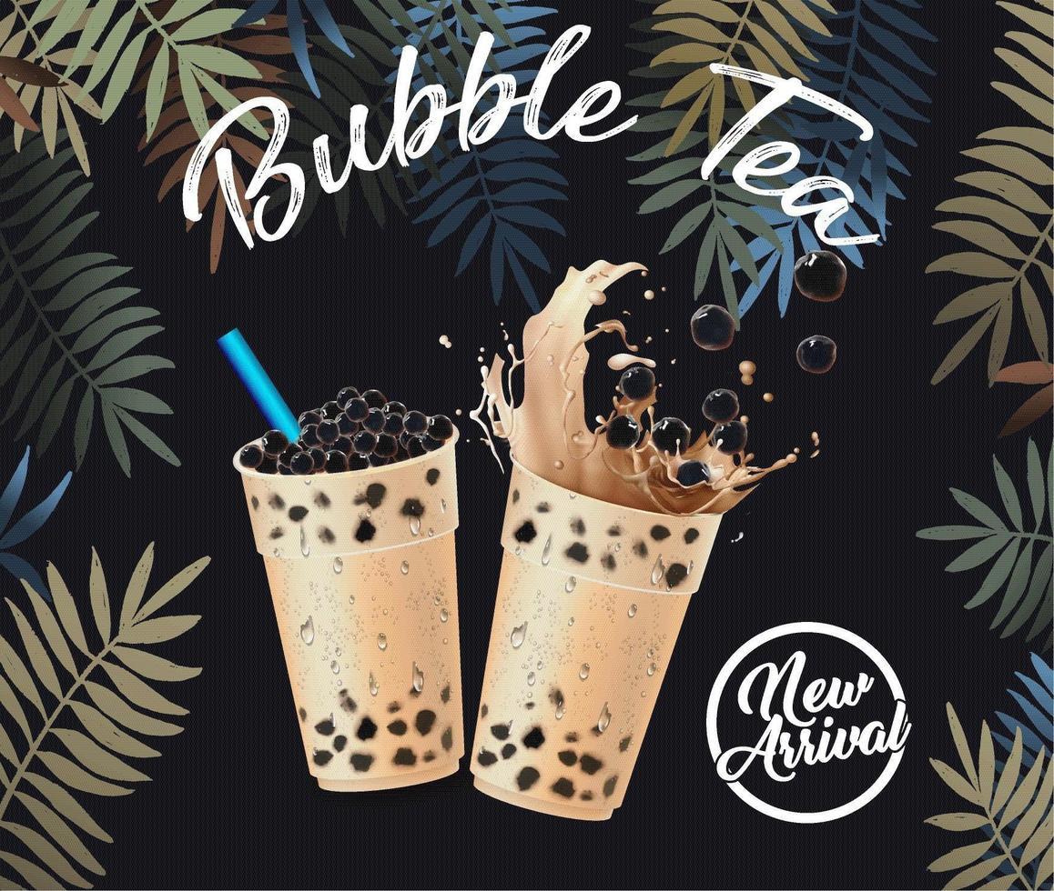 affisch för nybubbla te med tropiska löv vektor