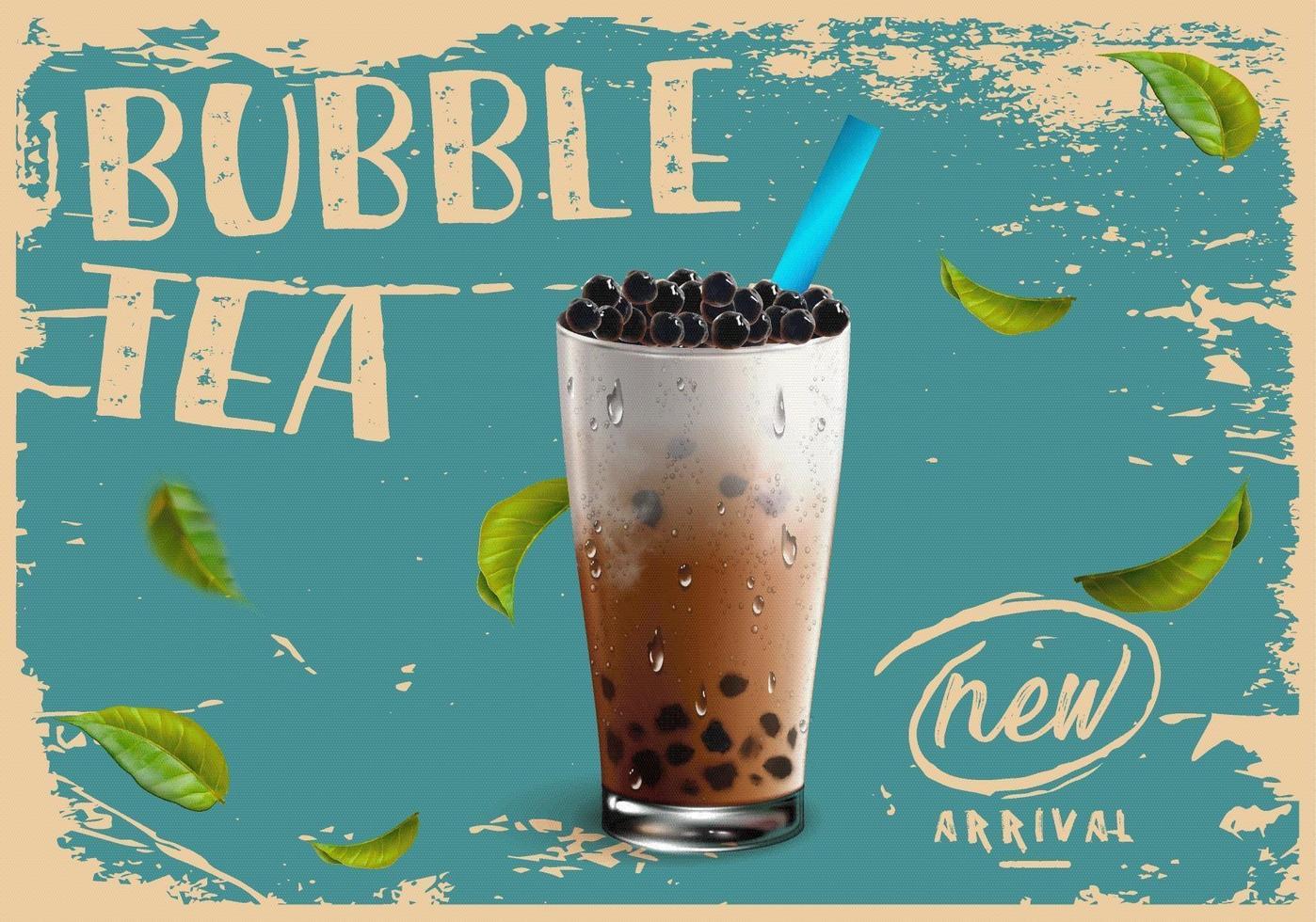 ny ankomstannons i bubbla te i vintage grunge stil vektor