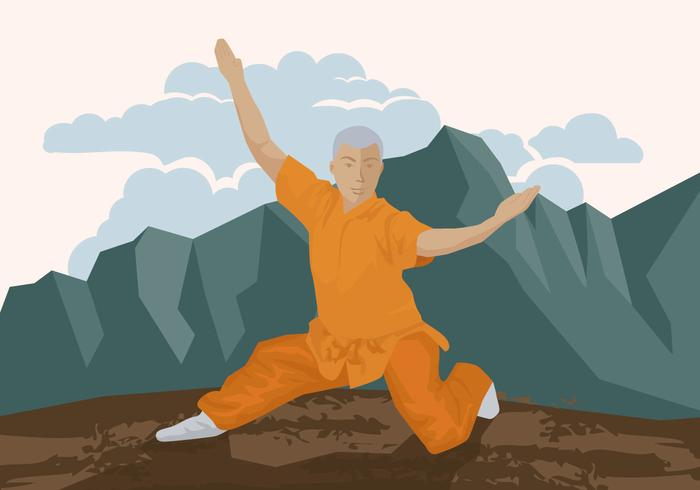 Mann macht Wushu vektor