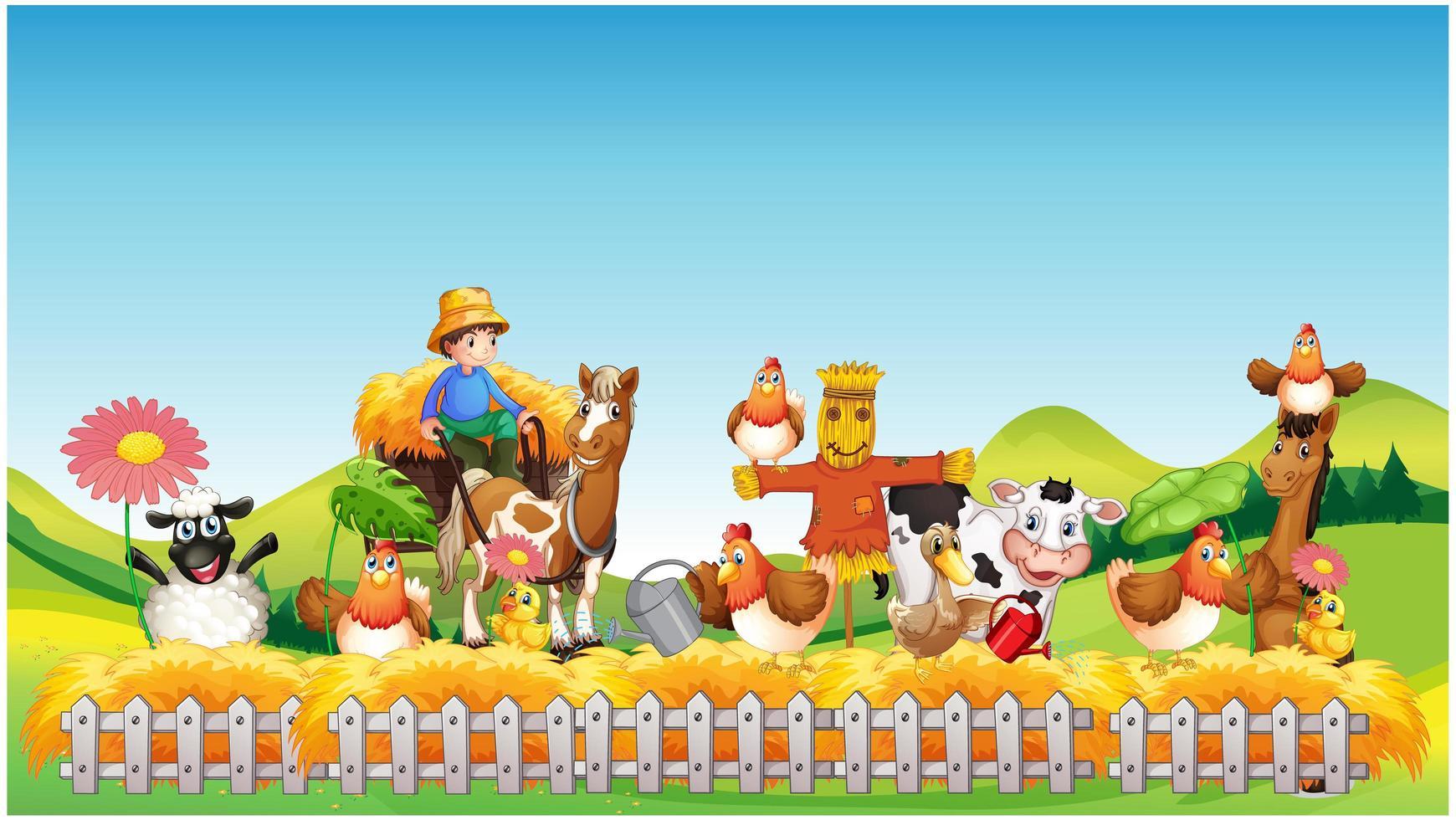 Bauernhofszene mit Tierkarikaturstil vektor