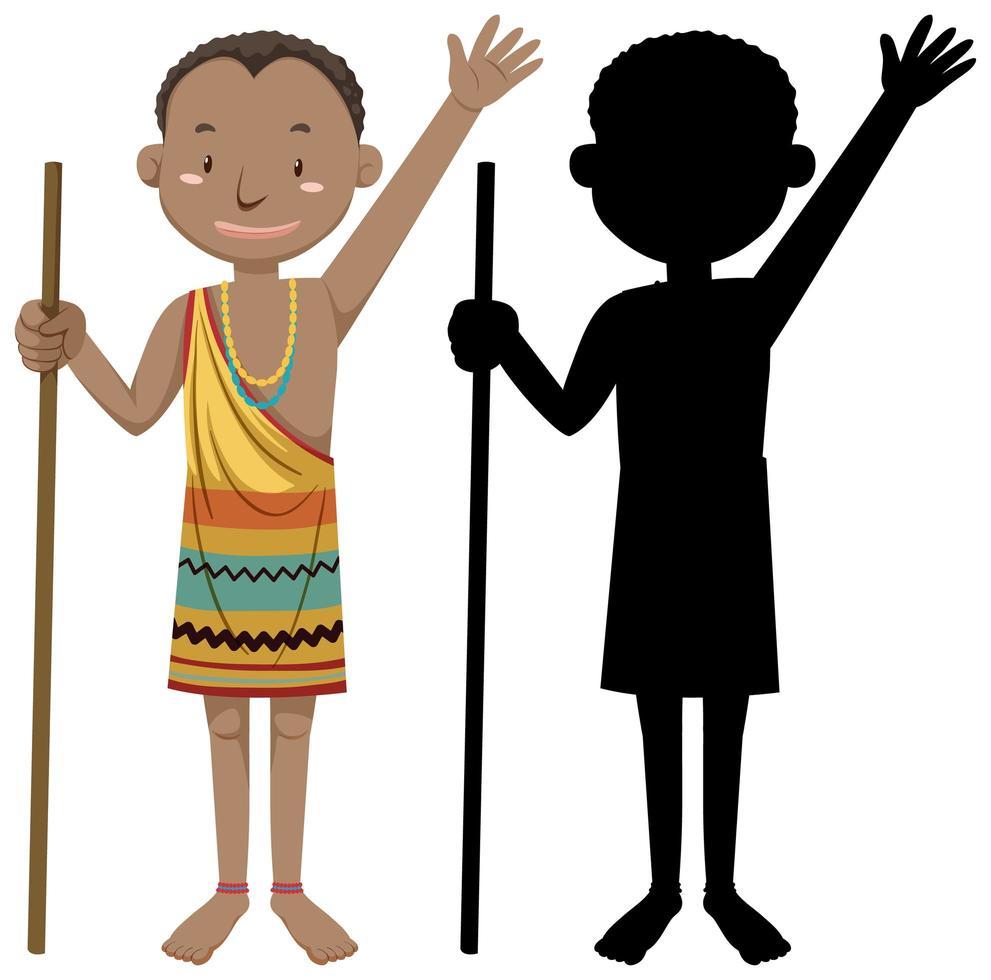 afrikanischer Stammcharakter mit Silhouette vektor