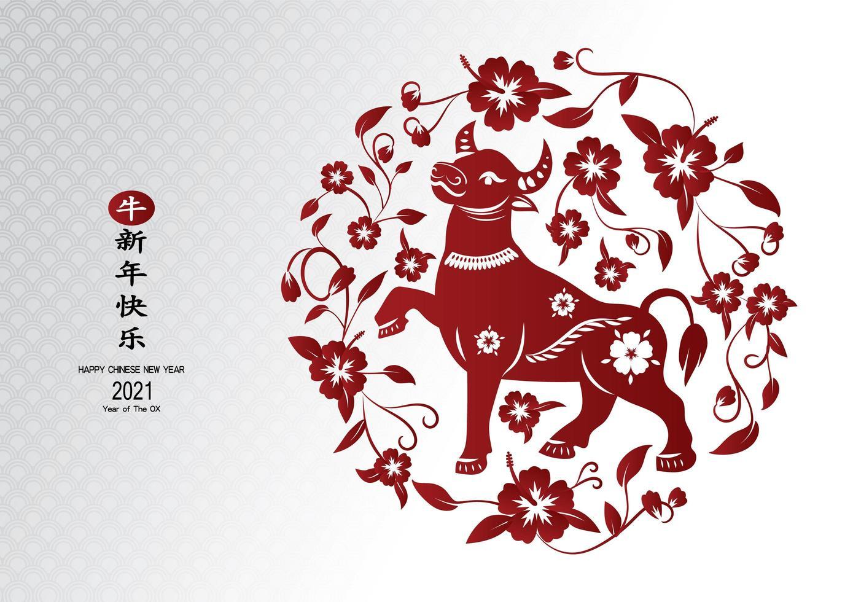 chinesischer Neujahrsochse 2021 im floralen kreisförmigen Muster vektor