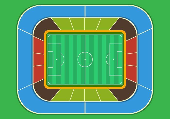 Fotbollsplan Stadium Top View vektor