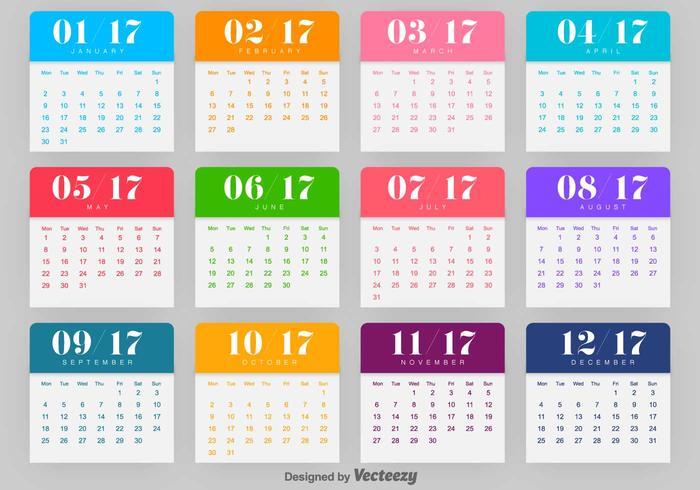 Kalender 2017 Vektor-Vorlage vektor
