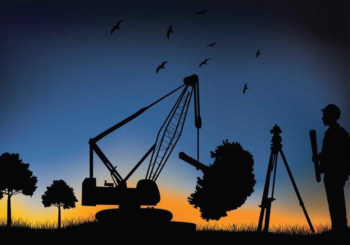 Landmätare Crane Free Vector