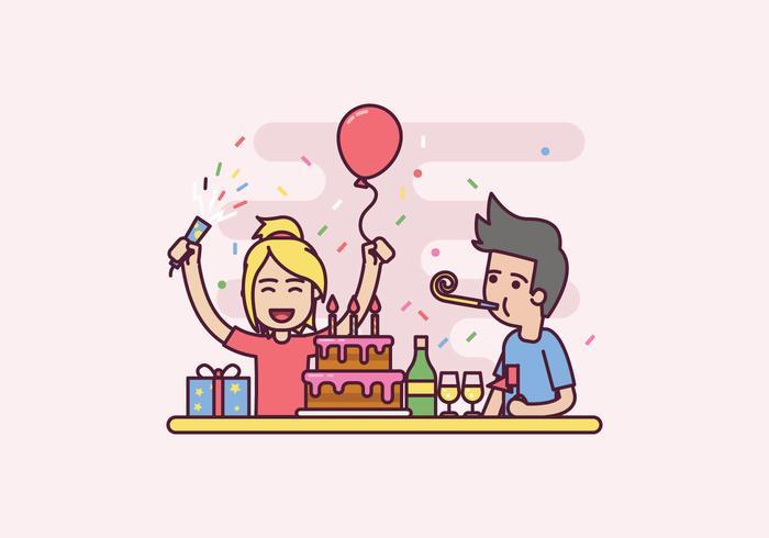 Freie Geburtstagsfeier-Illustration vektor