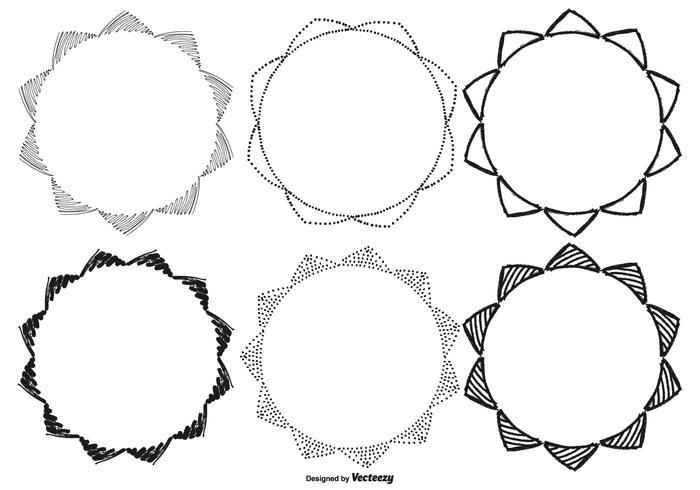 Skizzenhafte Handgezeichnete Rahmensammlung vektor