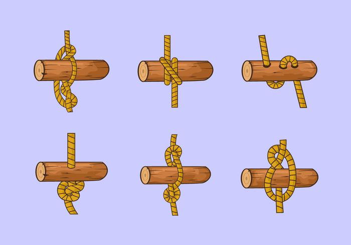 Rope stege knut trä vektor lager