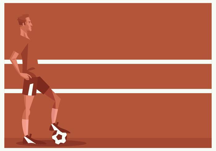 Fotbollsspelare som står framför röd bakgrundsvektor vektor