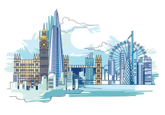Vektor-Illustration Der Scherbe und die London Skyline vektor