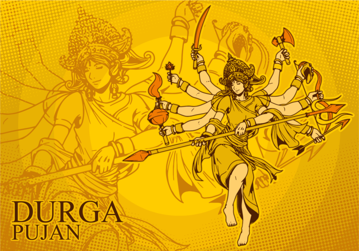 Gudinna Durga Illustration vektor