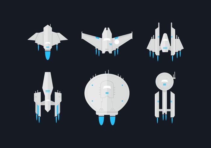 Starship Flat Vektor Sets