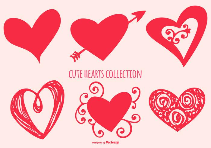 Nette Herzform-Sammlung vektor