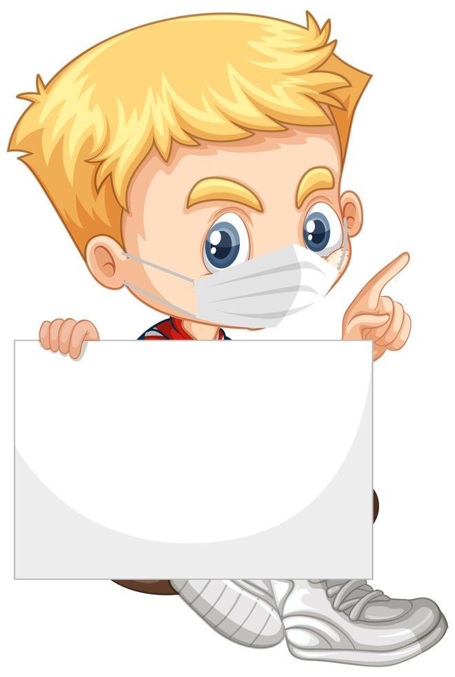 ung pojke seriefiguren håller tom banner vektor